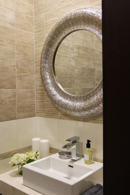 Мария Шубина, дизайн интерьера, круглое зеркало, дизайн санузла