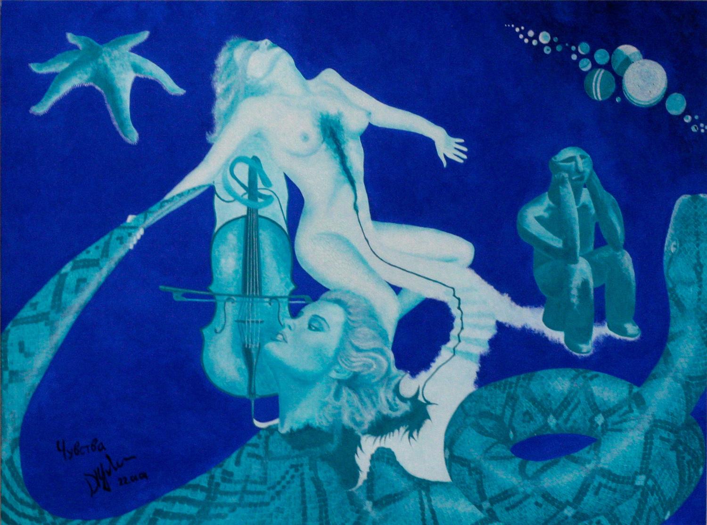 Чувства. Девушка с распоротой грудью и завязанными глазами держит за хвост змею. Кровь из груди стекает по лестнице к голове девушки.