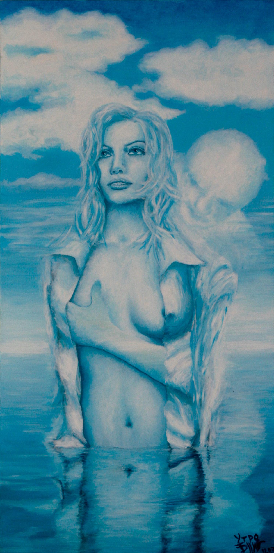 Утро. Полуобнаженная девушка в расстегнутой блузке стоит в воде. Сзади её ласкает мужчина-облако.