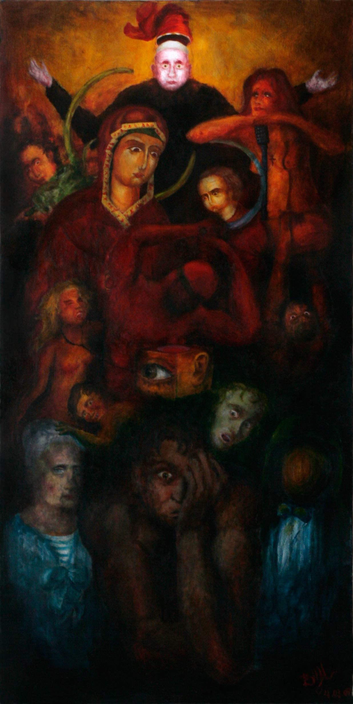 Итальянский сапог. Скопление людей и объектов. Вверху Папа Римский с красным сапогом над головой. Ниже стриптизерша-проститутка с микрофоном, мужчина с черепом рогатого животного, Мария и Иисус, красный человек с повязкой на глазах, мальчик с рукой на голове пожилой женщины-моряка. Акрил.