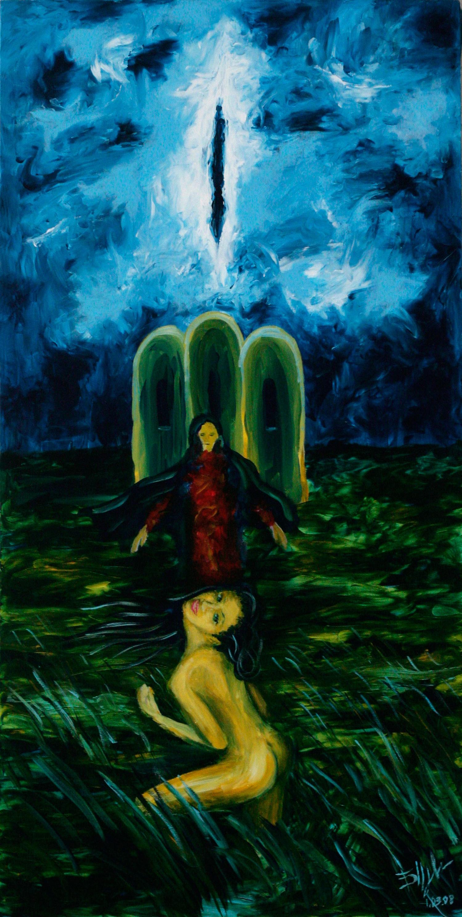 Испанская девственница. Голая девушка стоит в траве в штормовую погоду. В центре монахиня и церковь. В пасмурном небе щель-влагалище.