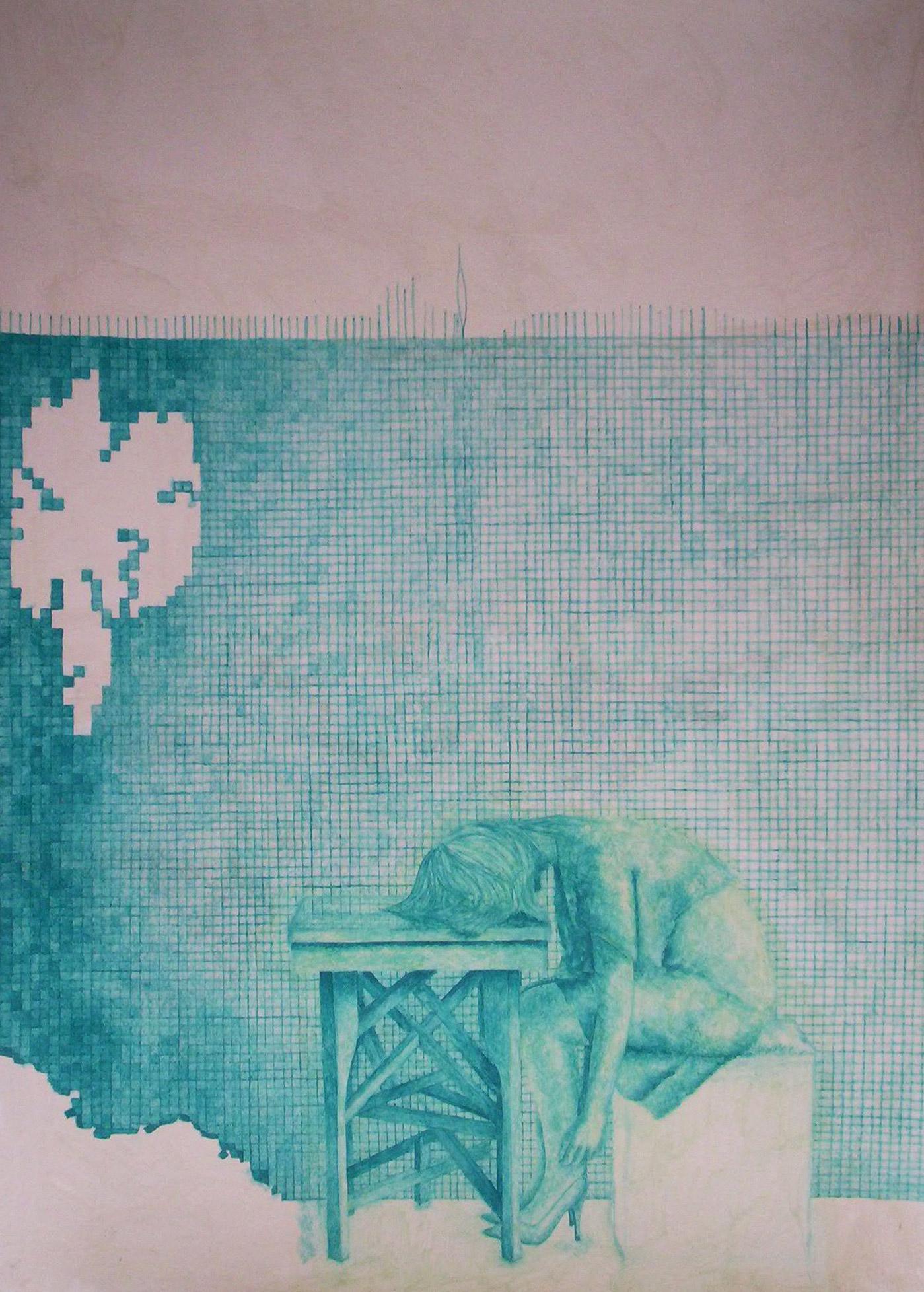 Паутина. Девушка сидит на кубе со спущенными руками и головой на столе. На заднем плане на стене мелкая плитка психиатрической больницы. Гуашь.