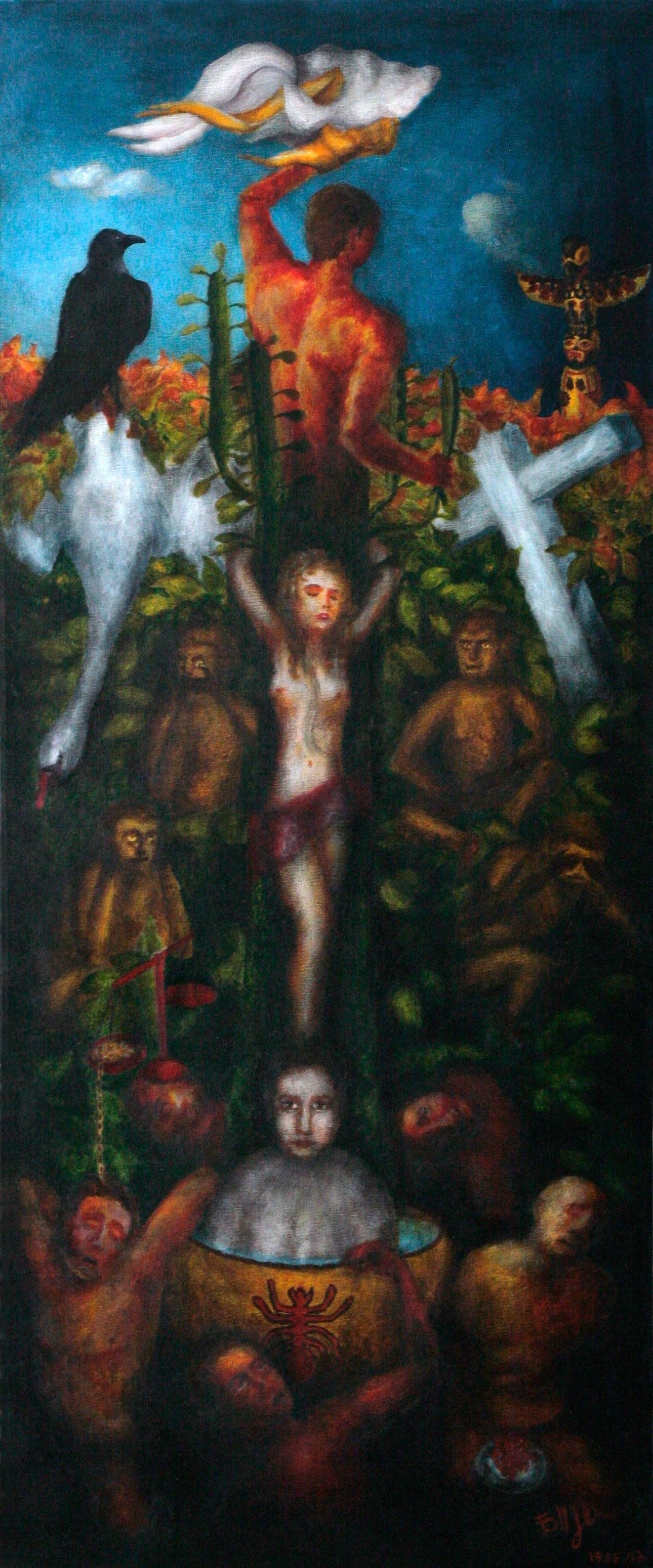 Закат. Молодая девушка прикована к кактусу, внизу девочка в горшке с водой. Их окружают пять грешников, четыре обезьяны, лебедь, ворон, крест, тотем.
