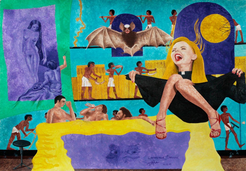 Смеющаяся девушка. Блондинка в одежде пастора и красных туфлях изображает летучую мышь и смеётся с широко раскрытым ртом. Гуашь.