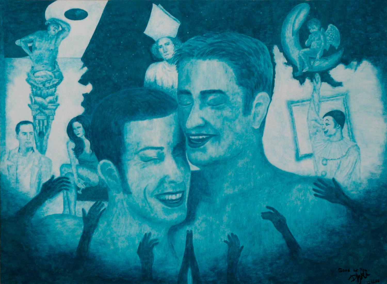 Good As You. В центре двое улыбающихся мужчин. На заднем плане священник, девушка с бокалом в руке, клоун, Амур на месяце.