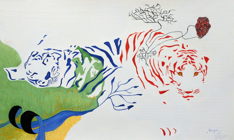 Жизнь. Спящий синий тигр на траве и бодрый красный тигр смотрит на нас. Гуашь.