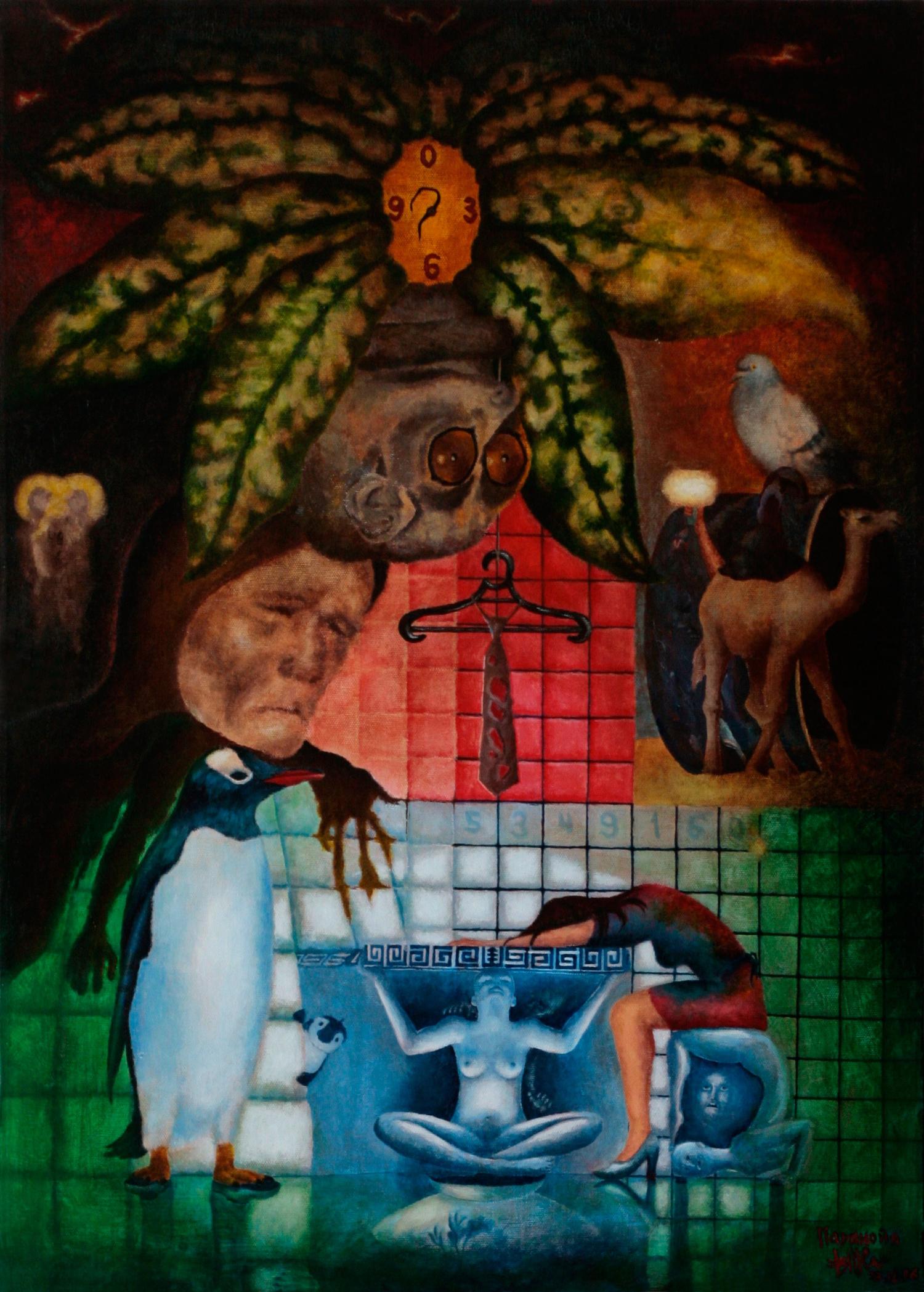 Паранойя. Лемур между листьями растения, в центре которого часы с искривленными стрелками. В центре галстук на вешалке в окружении старухи, пингвинов, верблюда, голубя, девушки, скульптур. Акрил.