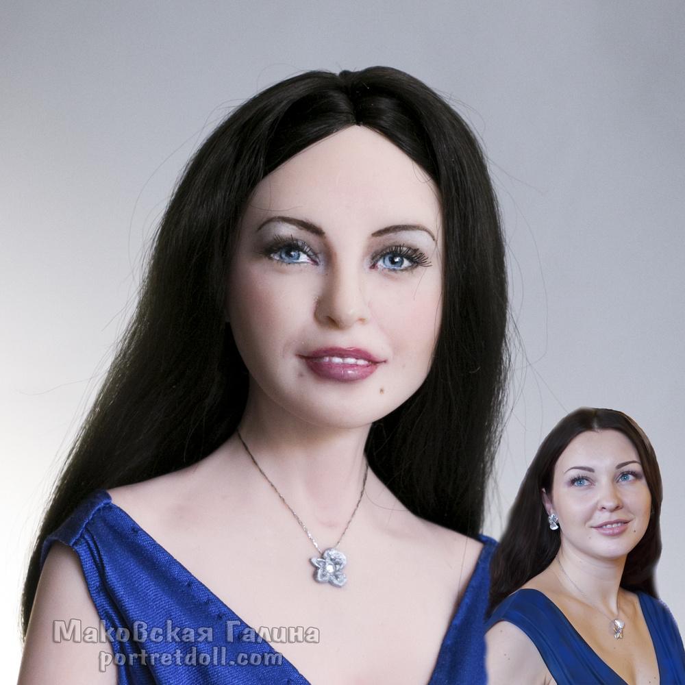 Портретная кукла ДЕВУШКА В СИНЕМ