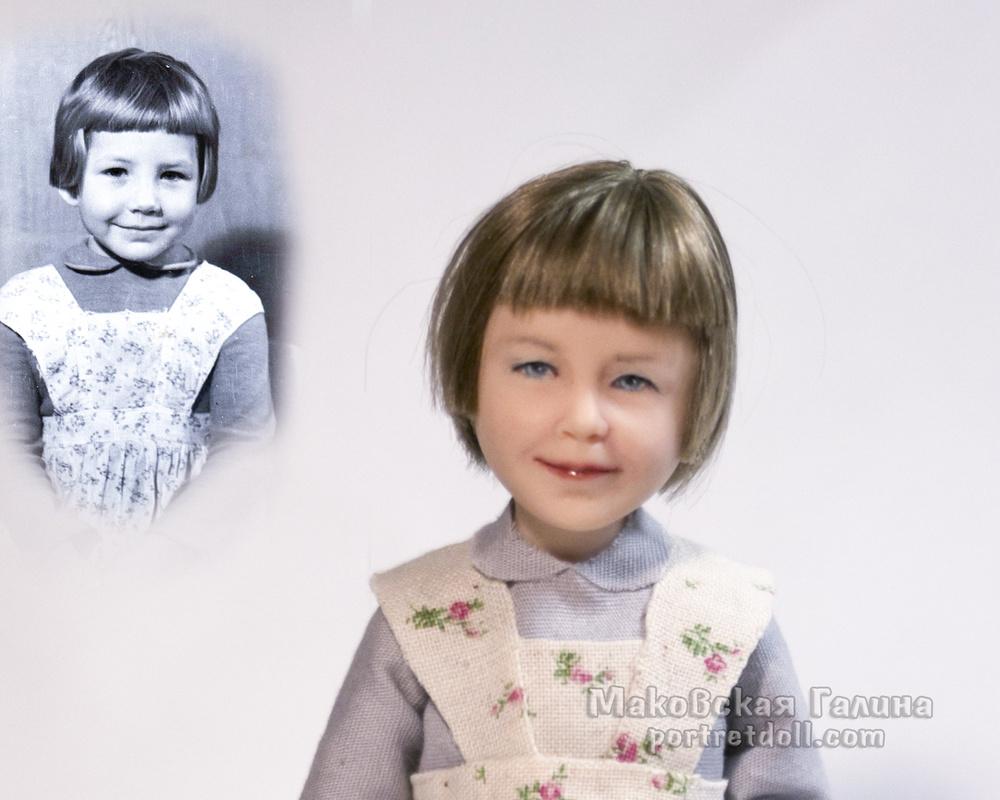 Портретная кукла ребенка - ДЕВОЧКА В ФАРТУЧКЕ