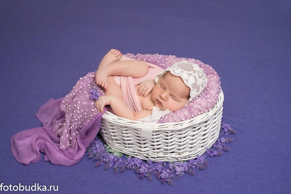 новорожденный в цветах