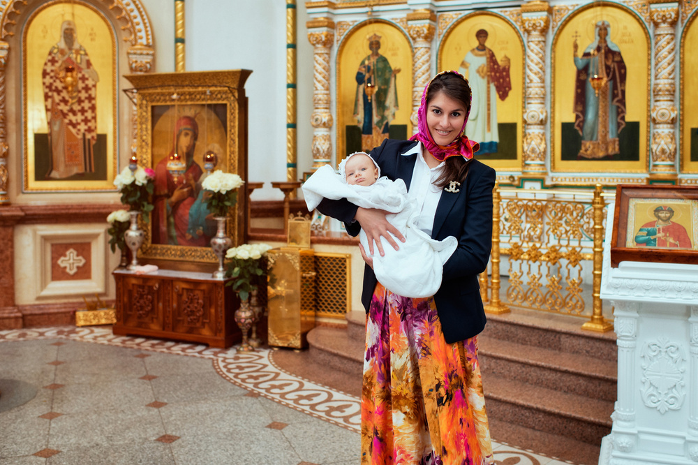 Крещение в храме Спаса Преображения в Переделкино