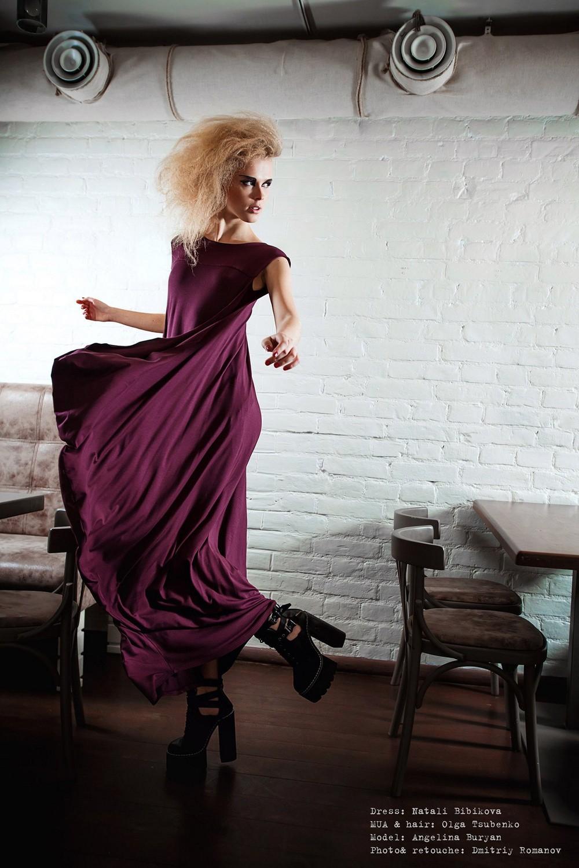 marsala dress in capsule collection by Natali Bibikova Fashion Designer
