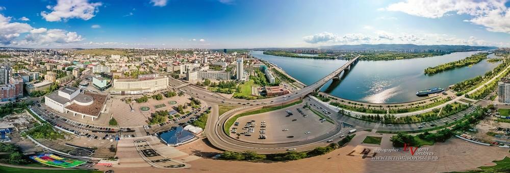 фото с квадрокоптера Красноярск с высоты Енисей  мост набережная театральная площадь