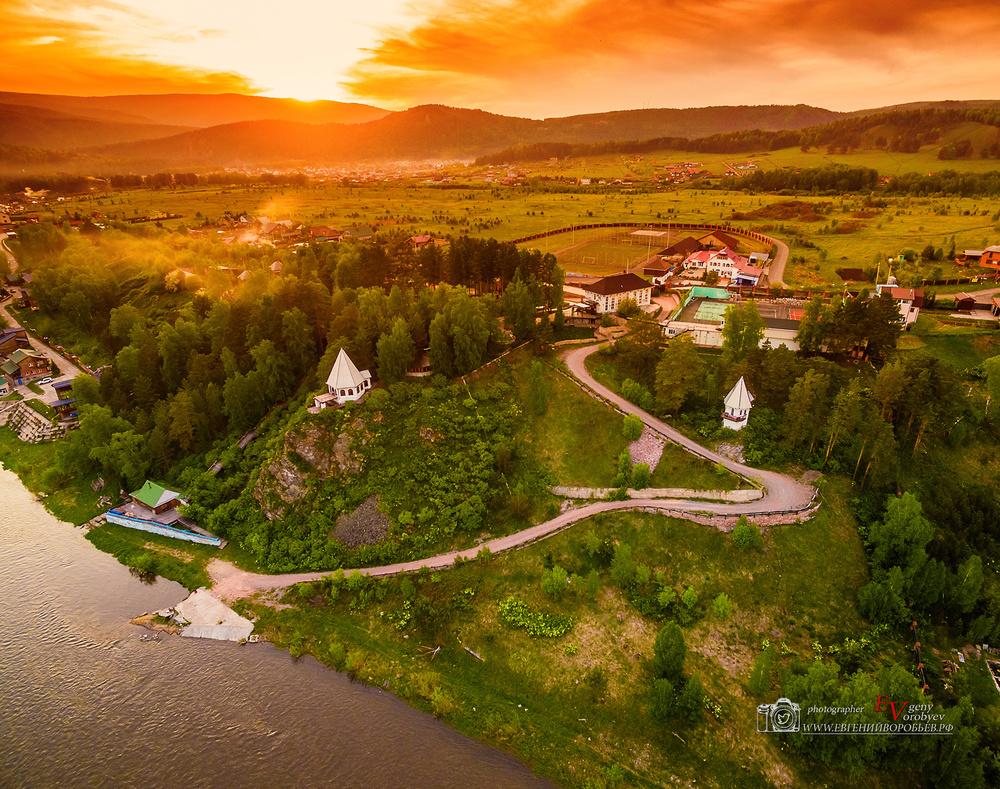 река мана природа красноярск база отдых квадрокоптер закат пейзаж
