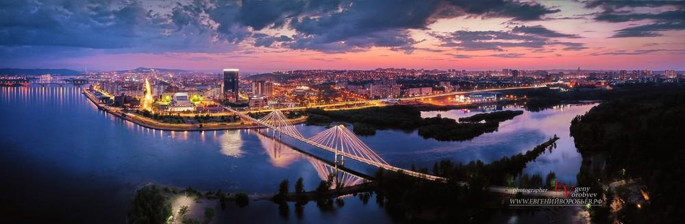 ночной Красноярск город Енисей река мост центр закат фотограф аэросъемка квадрокоптер