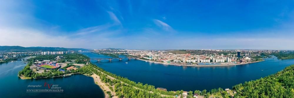 Сибирь фотограф город Красноярск с высоты Енисей остров набережная центр  квадрокоптер