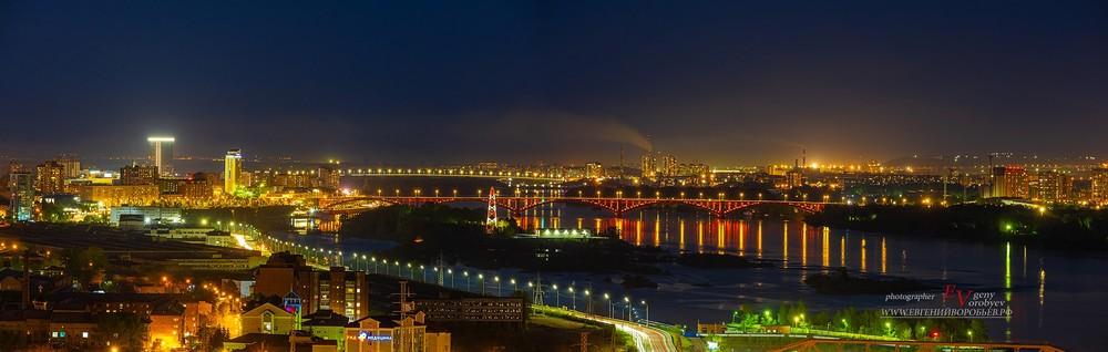 красноярск ночной город центр фотосънмка квадрокоптер видео дрон енисей мост