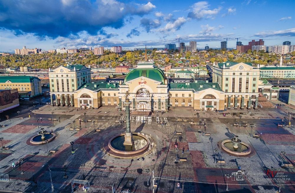 фото Красноярска с высоты квадрокоптер жд вокзал