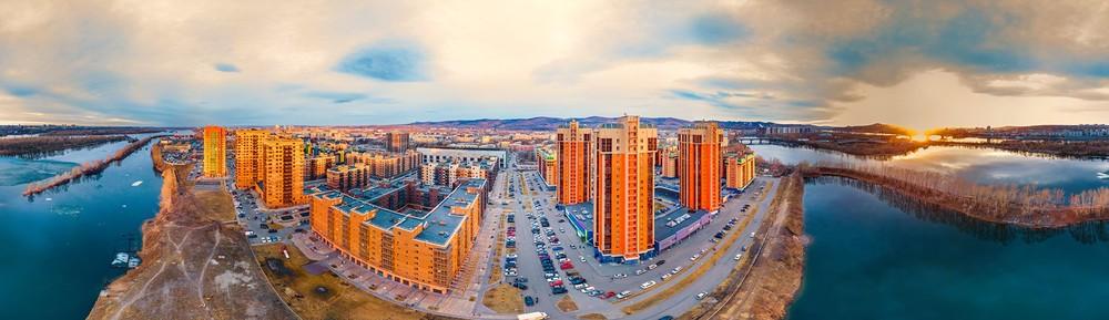 Красноярск Южный берег квадрокоптер дрон с высоты Енисей мост остров красивое место