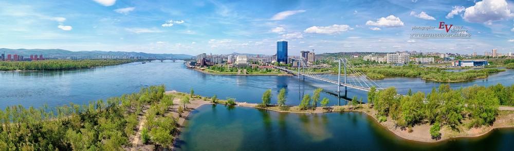 Красноярск Енисей Сибирь мост съемка с квадрокоптера с высоты фотограф видеосъемка