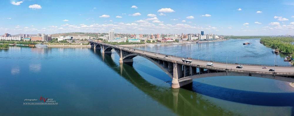 Красноярск река Енисей коммунальный мост фото с квадрокоптера лето с высоты