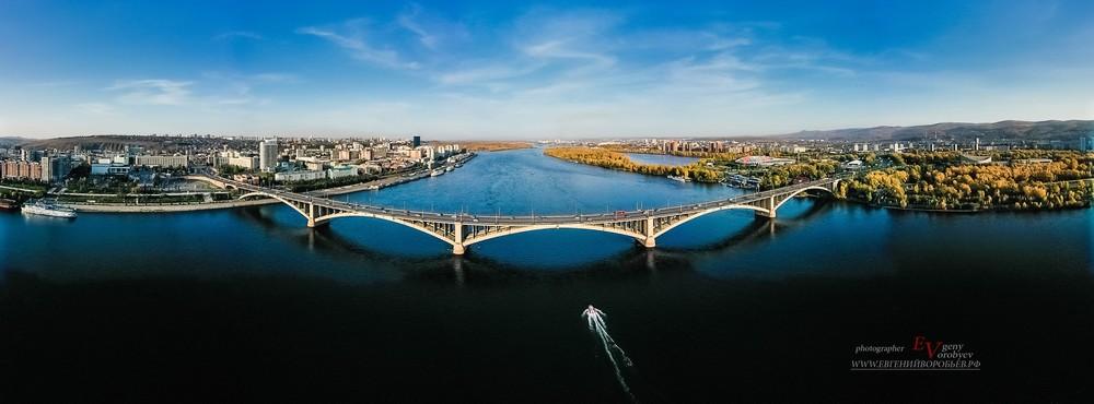 Красноярск Сибирь Енисей Мост аэросъемка с квадрокоптреа город высоты фото видео туризм путешествие