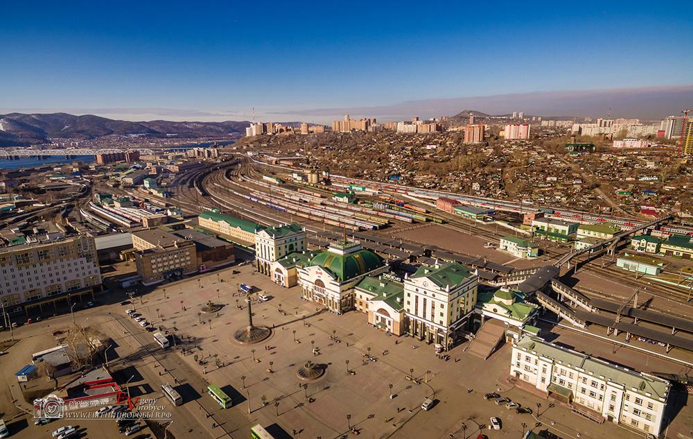 фото квадрокоптер Красноярск с высоты жд вокзал
