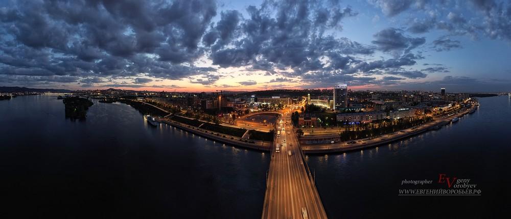 Красноярск Енисей мост центр город вечер огни фотограф квадрокоптер  дрон красивый вечер закат