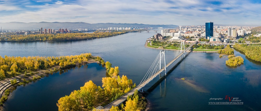 Красноярск река Енисей мост Татышева с высоты съемка фото с квадрокоптера видео фотограф