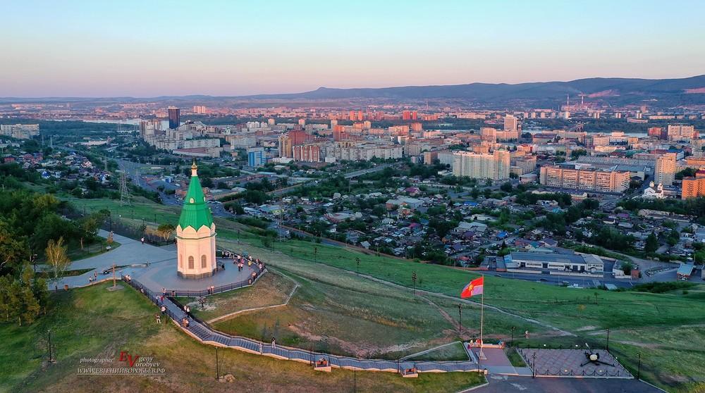 Красноярск часовня Енисей Сибирь фото с квадрокоптера дрон съемка