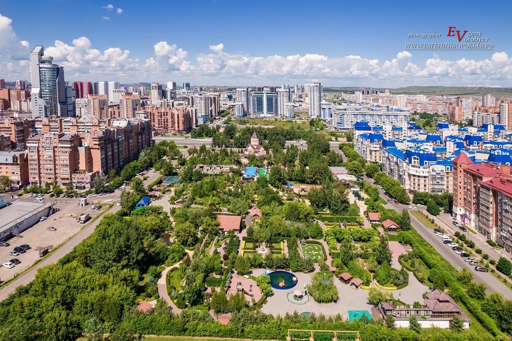 сады мечты Красноярск фотограф фотосессия дрон квадрокоптер аэросъемка город парк сад