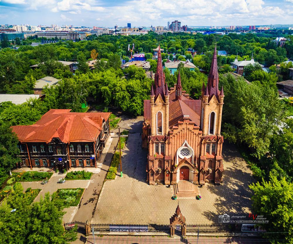 органный зал Красноярск фото с высоты католический храм квадрокоптер