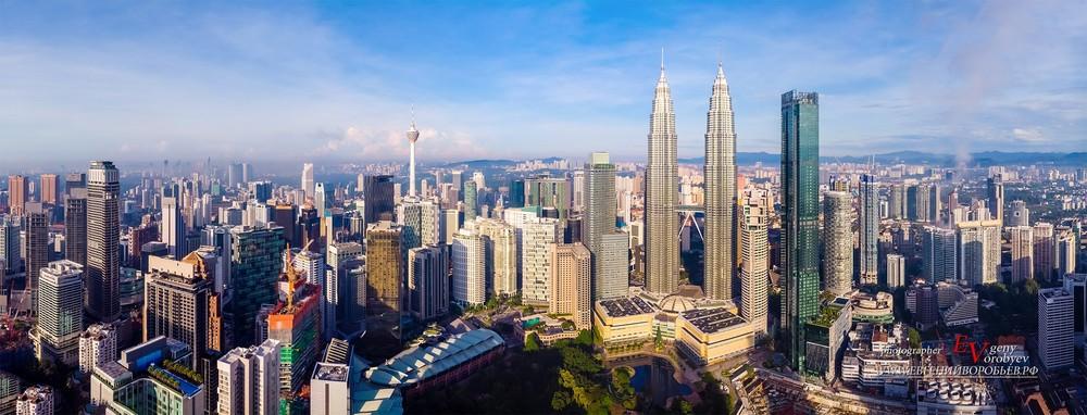 аэро фотосъемка с квадрокоптера видео Куала Лумпур Петронас башни