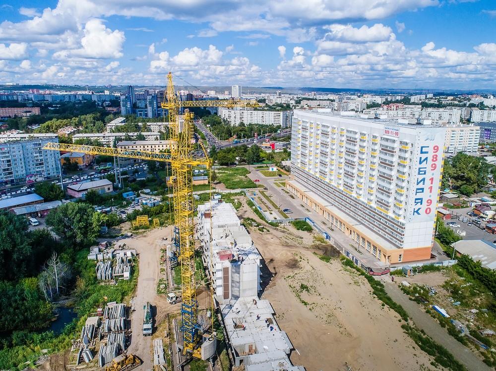 аэросъемка фото высоты Красноярск квадрокоптер видео дрон стройка сибиряк подъемный кран строитель
