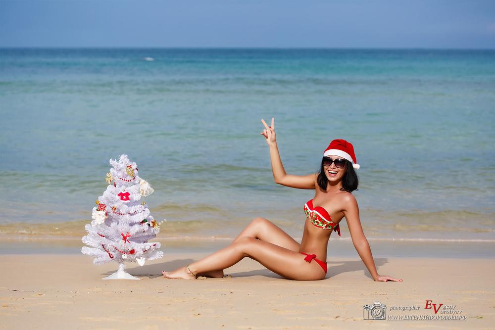 Зимние новогодние фото Красноярск девушка  море