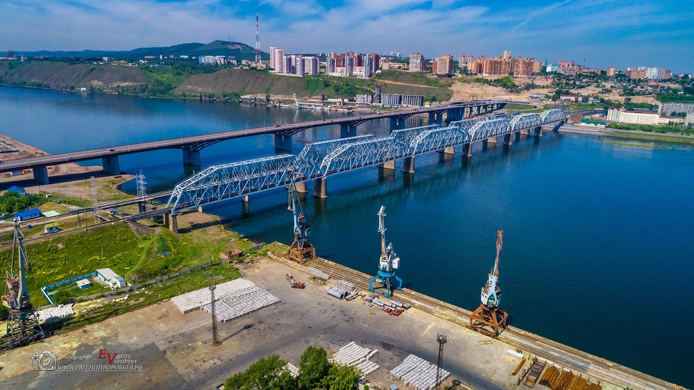Енисей мост корабль порт кран промышленая фотосъемка железная дорога Красноярск