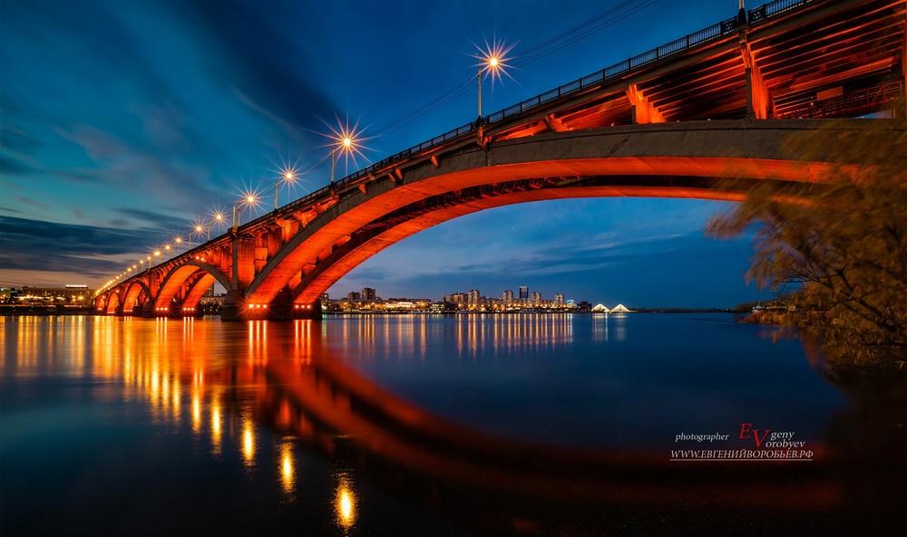 Красноярск река Енисей мост ночь огни сумерки фотограф