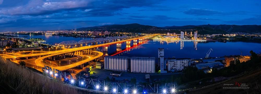 Красноярск Енисей мост ночной сумерки город фотограф фотосессия