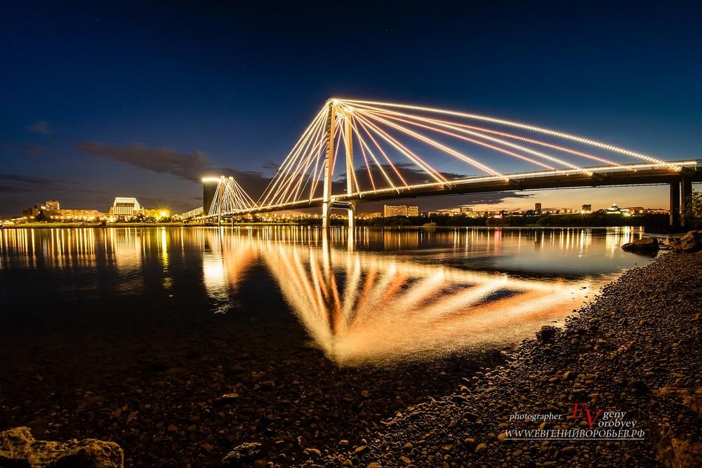 ночной Красноярск виноградовский мост река Енисей фотограф фотосъемка недвижимости