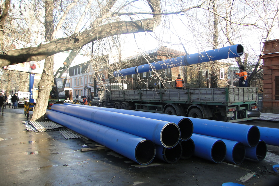 Строительство водовода, м-н Солнечный, г. Иркутск