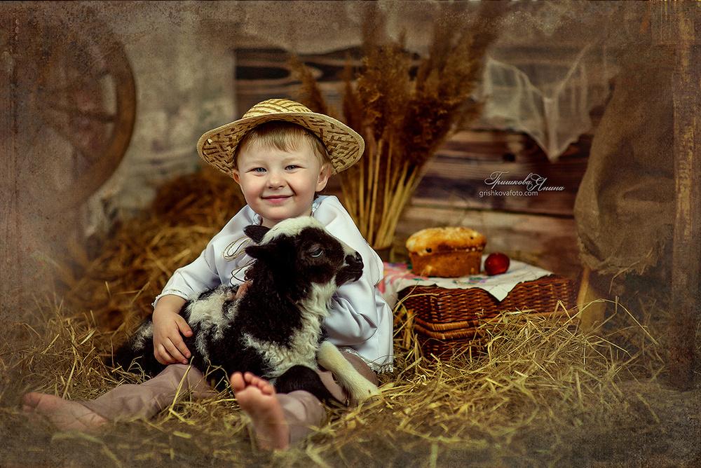 Детская фотосессия - Деревенское утро