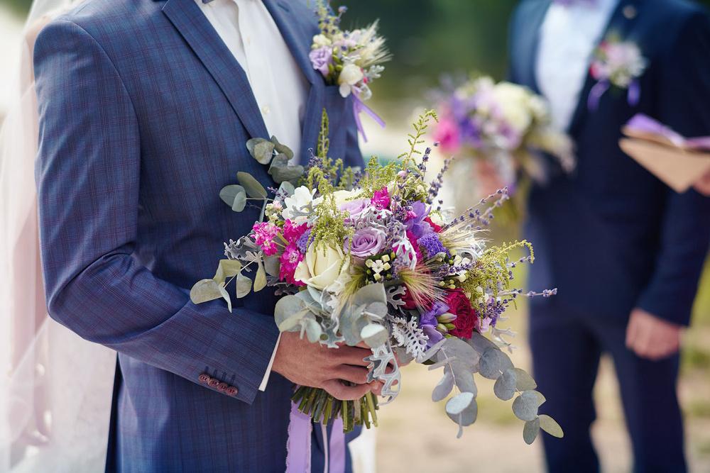 букет с лавандой, свадебный букет