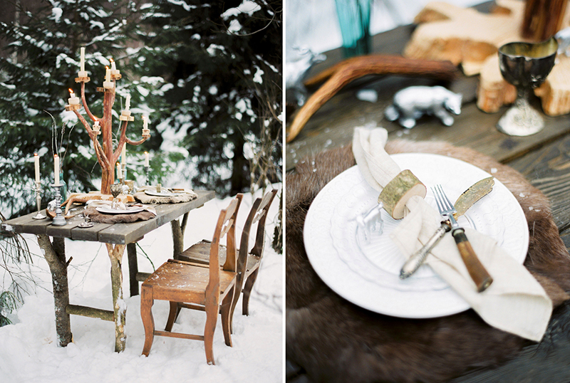 зимний декор стола в стиле Хроники Нарнии