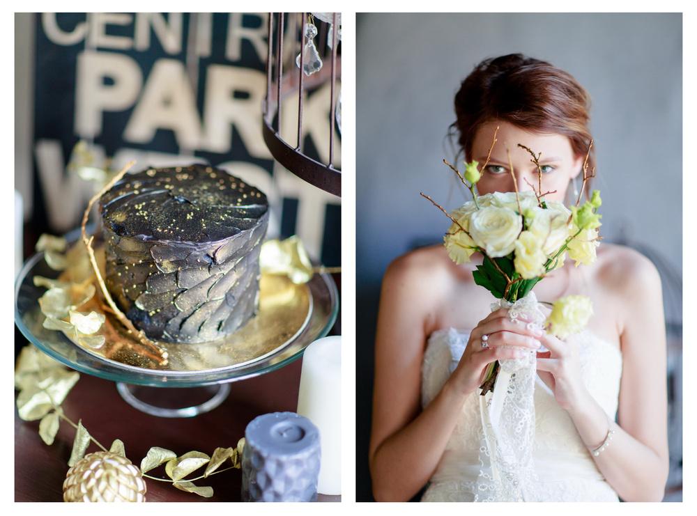 Свадебный лукбук - черный и золотой