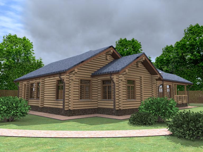 Загородные дома из дерева - Загородный дом из оцилиндрованного бревна