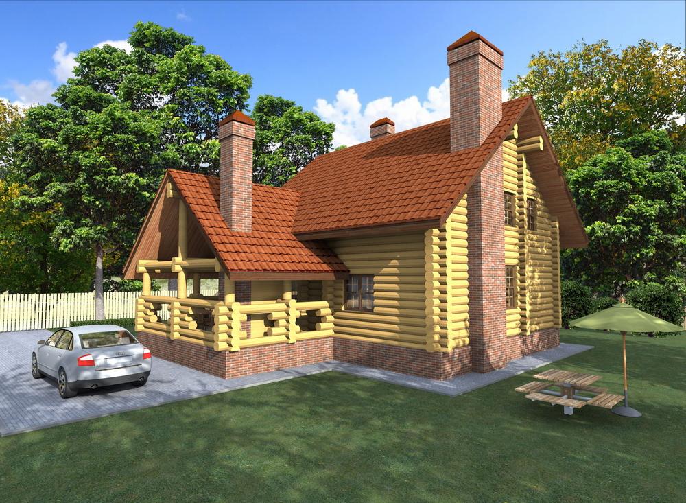 Загородные дома из дерева - Баня с бильярдной   129м2