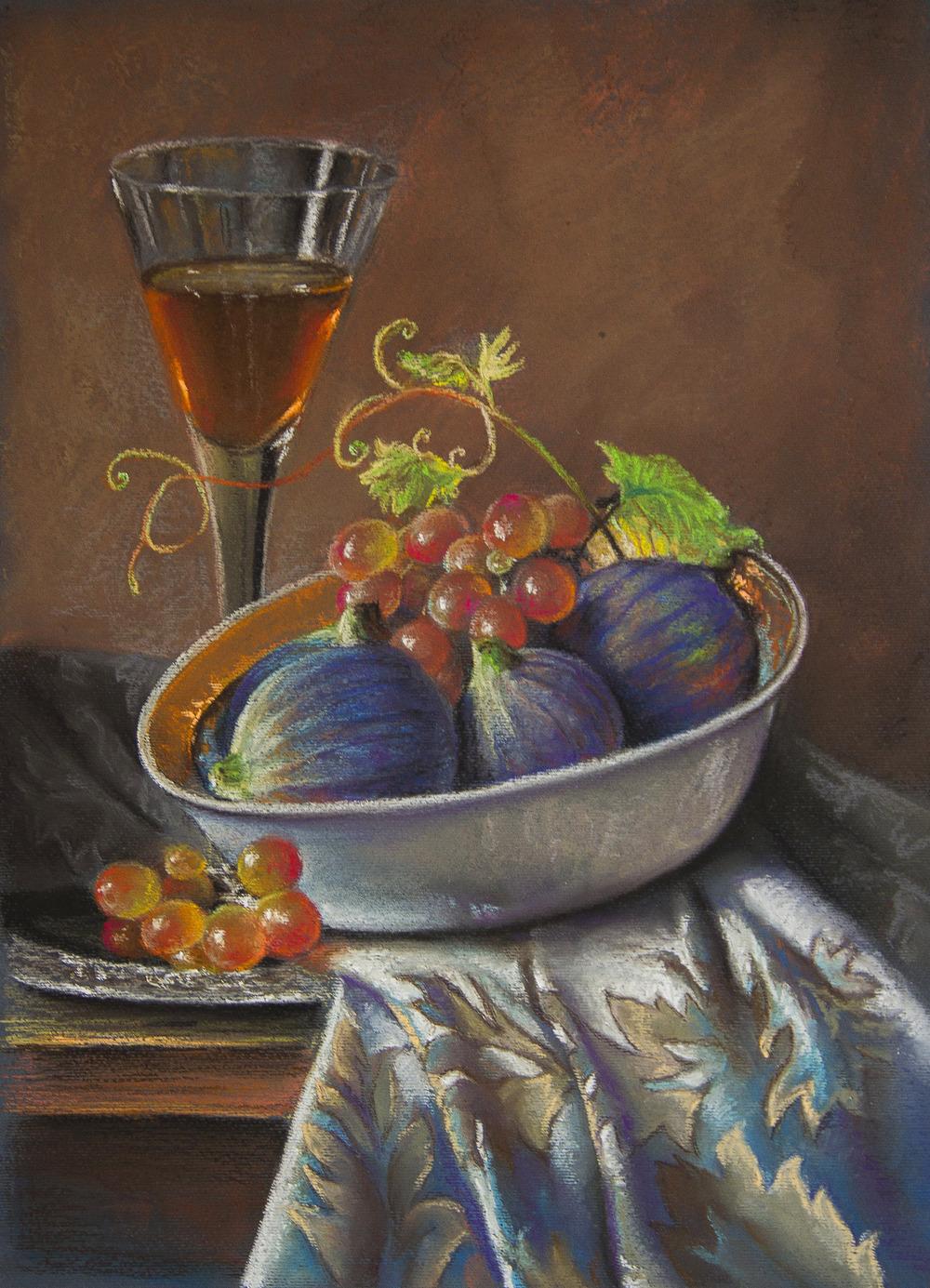 Натюрморт пастель виноград