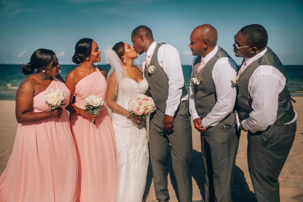 J + J. Beach wedding