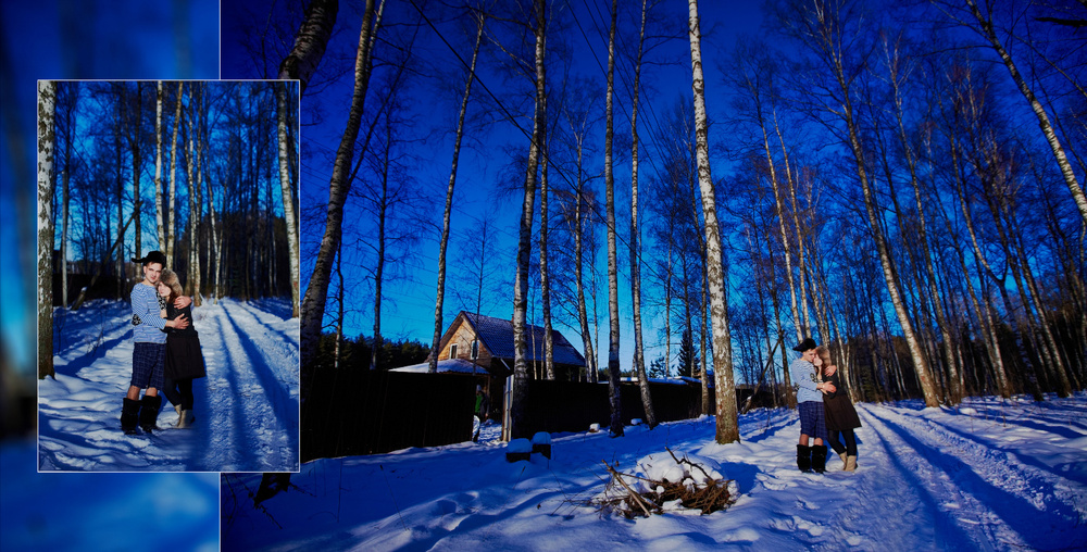 Two lovers in winter house