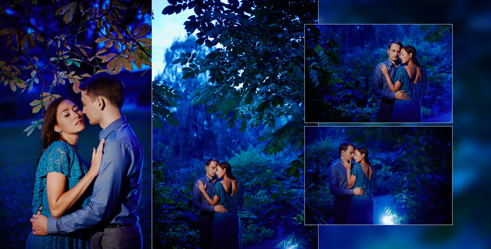 Lovers at Night Garden and subway